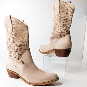 BCBGeneration Taupe Leather Suede Western Boots